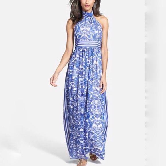 a4fcdcbb5a Eliza J Dresses   Maxi Dress Floral Striped Paisley Halter   Poshmark
